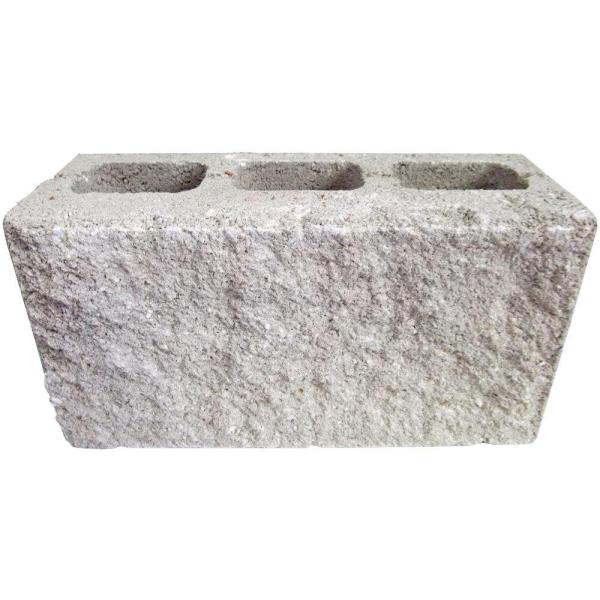 6 in  x 8 in  x 16 in  Natural Face Concrete Block 66408   The Home     Natural Face Concrete Block