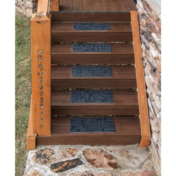 Nance Carpet And Rug Peel And Stick Charcoal Indoor Outdoor 8 In | Outdoor Stair Treads Home Depot | Anti Slip Stair | Rugs | Non Slip | Tread Covers | Pressure Treated