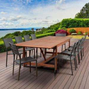 Wood Patio Furniture   Patio Dining Furniture   Patio Furniture     Bryant 11 Piece Wood Rectangular Outdoor Dining Set