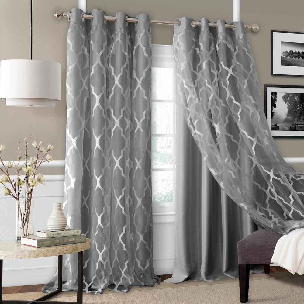 Elrene Bethany Sheer Overlay Blackout Window Curtain 23032GRY The Home Depot