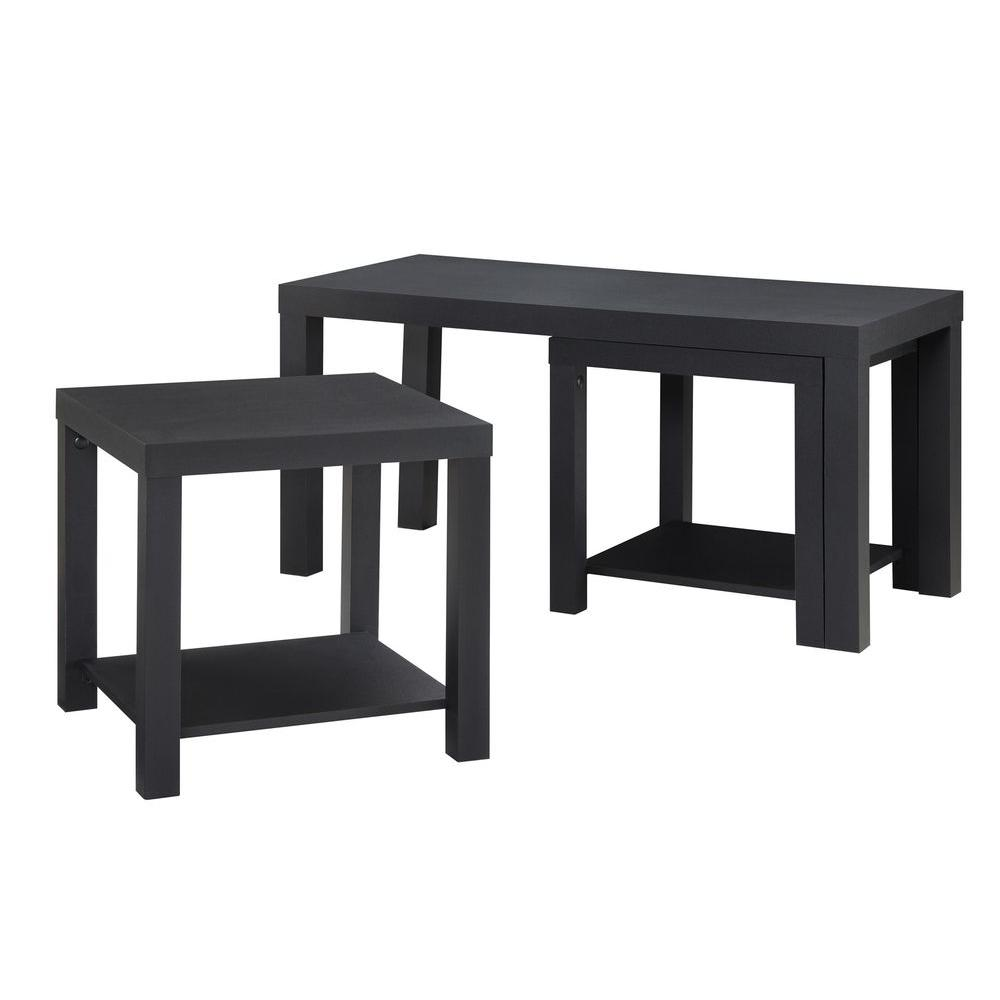 ameriwood home simpson 3 piece black rectangle composite coffee table set with shelf hd41646 the home depot