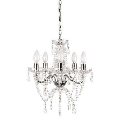 5 Light Chrome And White Crystal Chandelier