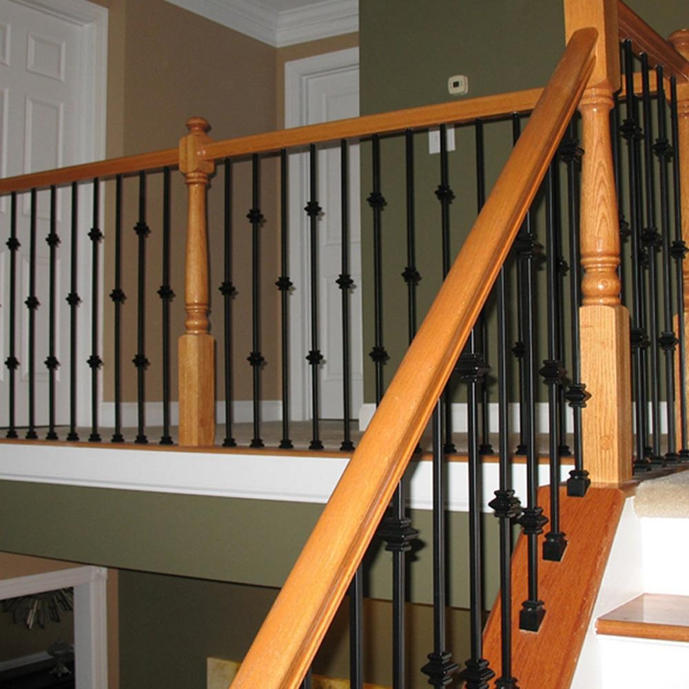 Wm Coffman 44 In X 1 2 In Satin Black Double Knuckle Hollow Iron | Iron Balusters Home Depot | Railing Kit | Ole Iron | Staircase Remodel | Oil Rubbed Copper Vein | Baluster Railing