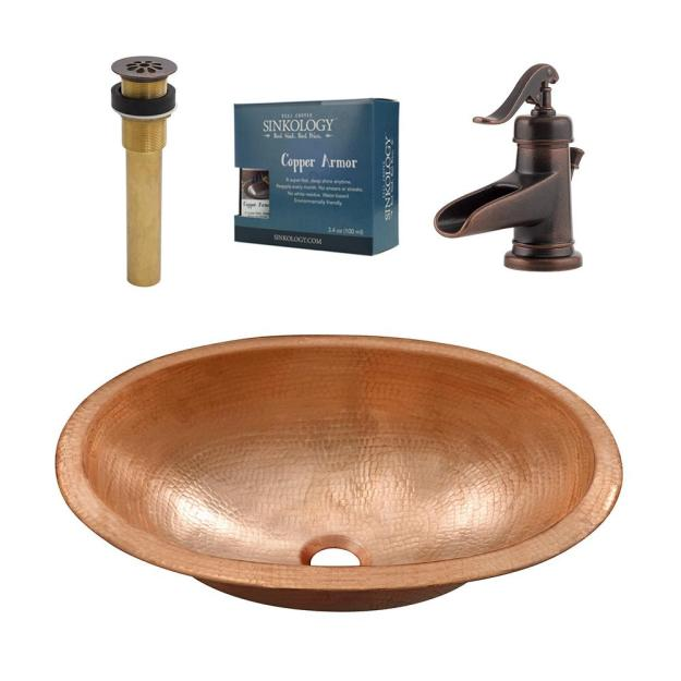 sinkology strauss all-in-one undermount or drop-in bathroom copper