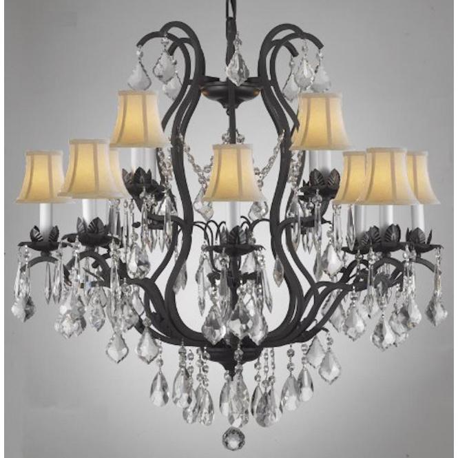 Null Versailles 12 Light Black Wrought Iron And Crystal Chandelier With White Shades