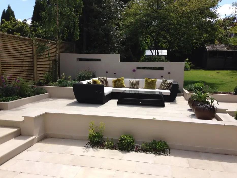 Contemporary split level terrace modern garden by ... on Split Garden Ideas id=37077