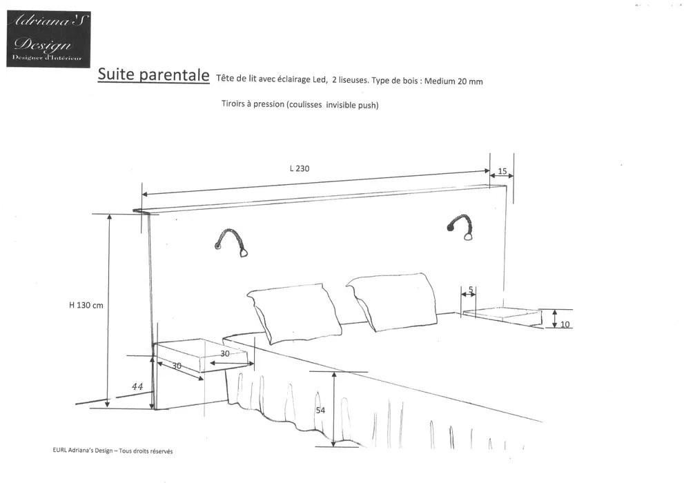 plan tete de lit chambre de style par adriana art deco