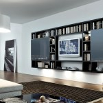 Wall Hung Tv Unit And Bookcase Also With A Glass Sliding