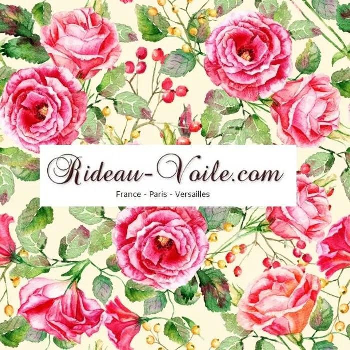 rideau et double rideaux a fleurs rose