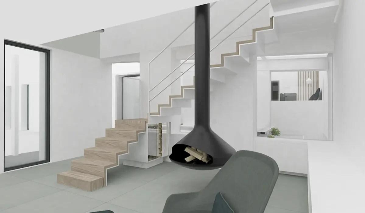 escalier sur salon rangement buches