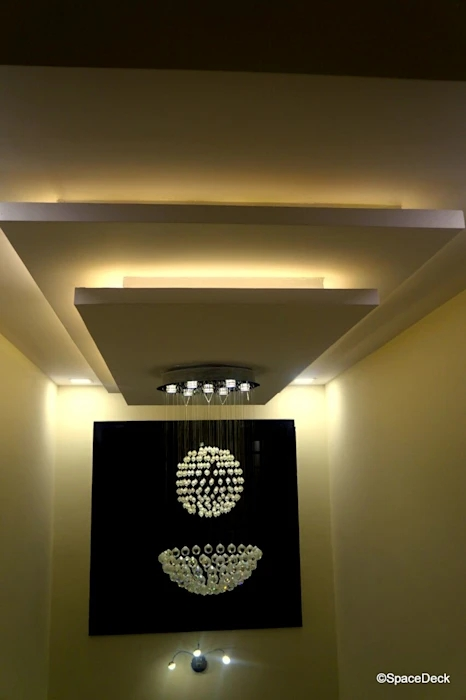 Duplex False Ceiling Modern Corridor Hallway Stairs By   False Ceiling On Stairs   Angled   Low Budget   Tv Lounge Ceiling   Residential   Simple