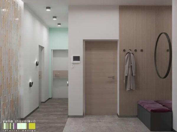 Яркий и стильный коридор прихожая и лестница в