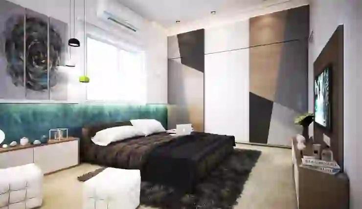 bed around the bedroom window