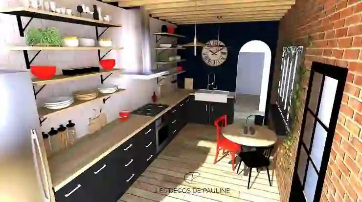 cuisine industrielle noir et bois