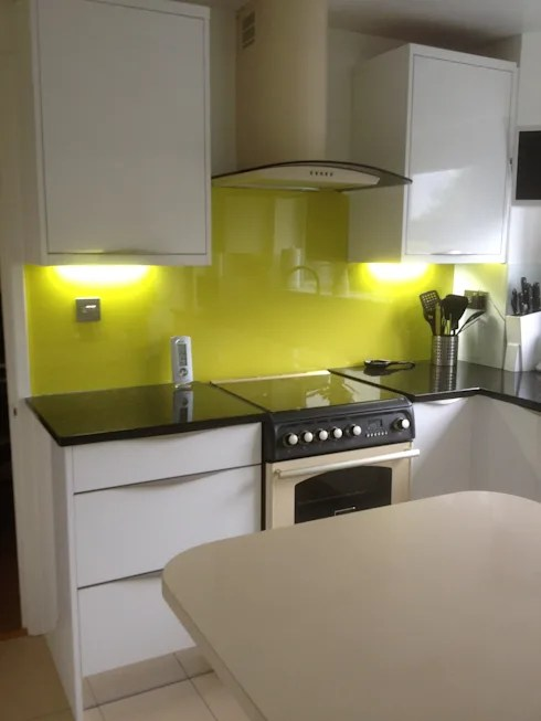 White Kitchen Yellow Splashback