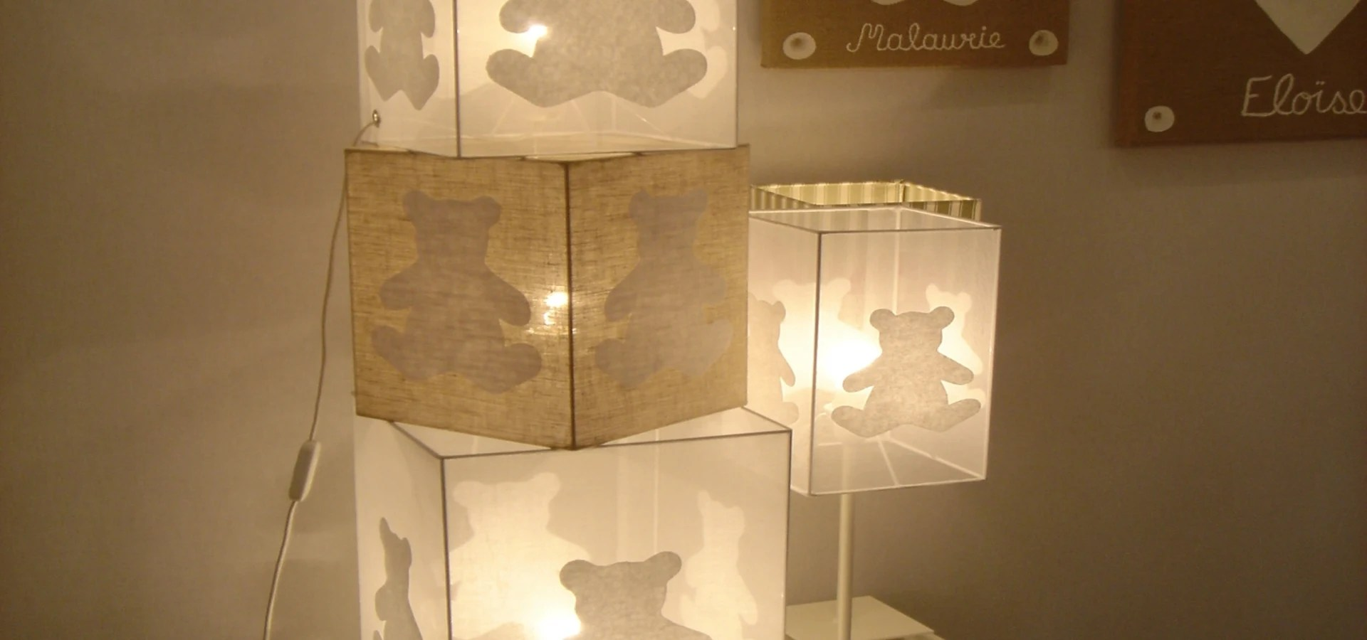lampe cube a poser chambre bebe ours