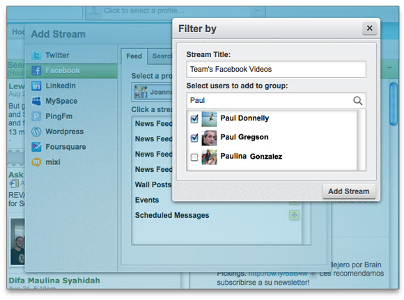 Filter by Facebook users in HootSuite