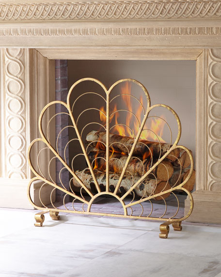 Italian Gold Iron Shell Decorative Fireplace Screen
