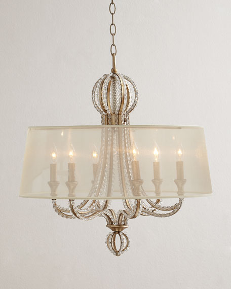 Crystal Beaded 6 Light Shaded Chandelier