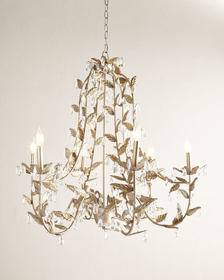 Cascading Leaves 6 Light Champagne Chandelier