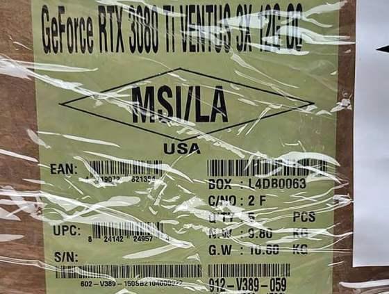 Shipping label GeForce RTX 3080 Ti
