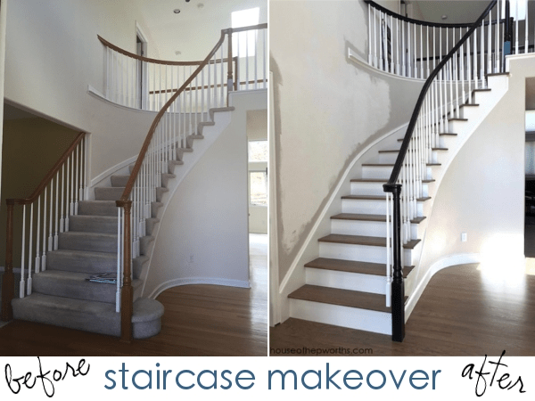 An Amazing Staircase Makeover From Carpet To Wood House Of | Grey Wood Stair Treads | Coloured | Marble | Low Cost | Gray Color | Porcelain