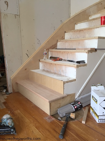 An Amazing Staircase Makeover From Carpet To Wood House Of | Best Carpet Stair Treads | Rug | Mat | Treads Lowes | Bullnose Stair | Wood Stairs