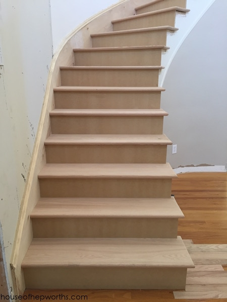 An Amazing Staircase Makeover From Carpet To Wood House Of   Carpeted Stairs With Wood End Caps   Stair Railing   Waterfall   Diy   Capped   Step
