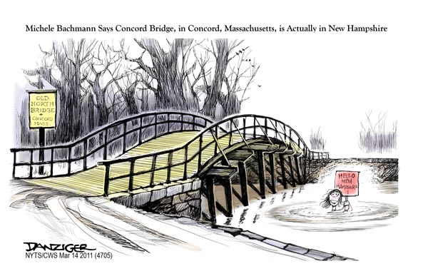 Jeff Danziger on Michelle Bachmann's mixing up Concords