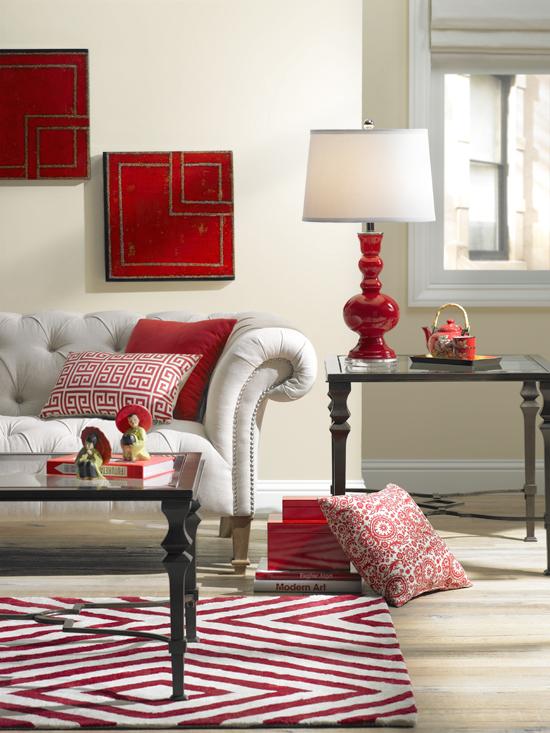 Living Room Decor Red Sofa