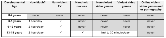 Technology Use Guidelines for Children and Youth - from Chris Rowan's Huff Post article.