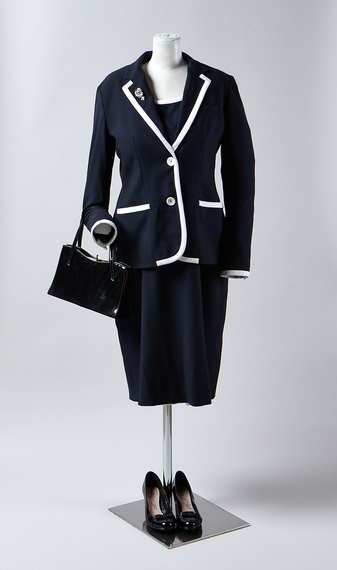 A black and white two piece suit, as worn by Meryl Streep playing Margaret Thatcher in the Iron Lady