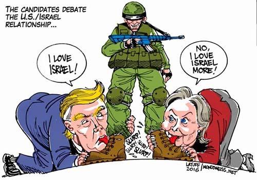2016-01-16-1452946810-6459589-ScreenshotofU.S.presidentialcandidatesDonaldTrumpHillaryClintonlickingIsraelsboots.jpg