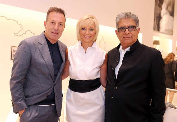 Brunello Cucinelli President Massimo Carrona BAZAAR Executive Fashion Beauty Editor Avril Graham and DeepakChopra