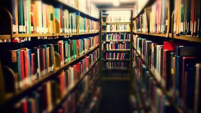 An aisle in a library