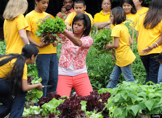 Michelle in the garden, courtesy of Huffington Post