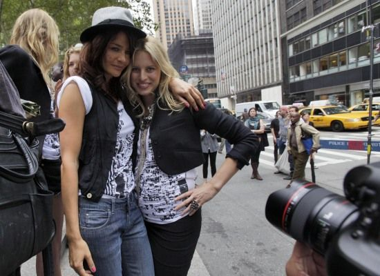 Helena Christensen (left) shares the spotlight with Karolina Kurkova