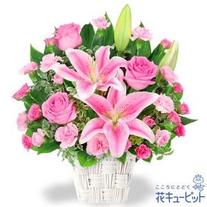 ユリとピンクバラのアレンジメント