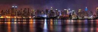 New York Panoramic Skyline Cityscape Night Unknown