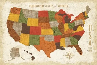 US Map Modern Vintage Spice Canvas Wall Art By Michael