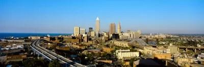 USA Ohio Cleveland Aerial Canvas Artwork ICanvas