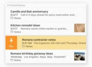 high sierra notes pinned note