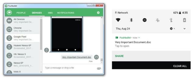 Android wireless file transfer - Pushbullet app