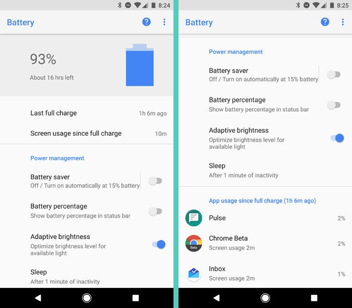 Android 8.0 Oreo: Battery Info