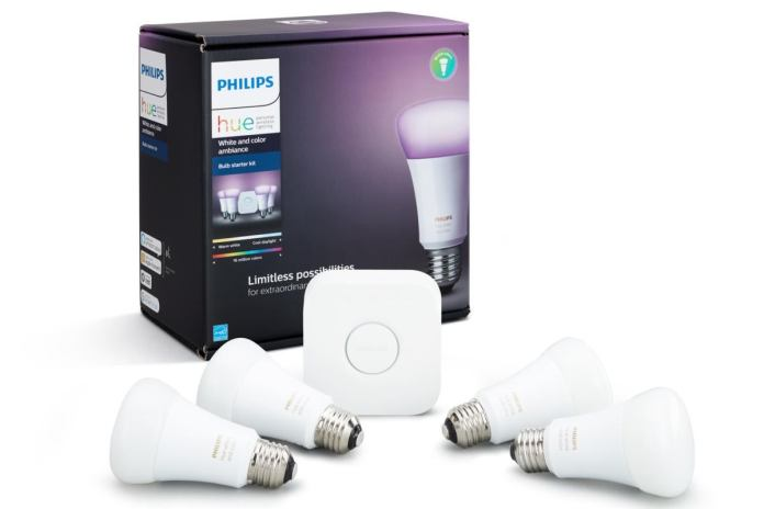 philips hue white color ambiance 4 pack starter kit box with product 100734244 large - Smart home systems vs. home security systems:  How to choose the right DIY platform