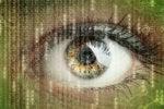 data science certification eye with raining binary numbers