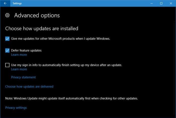 defer feature updates