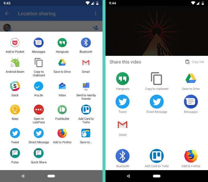 Android Sharing: Google Maps, YouTube Music