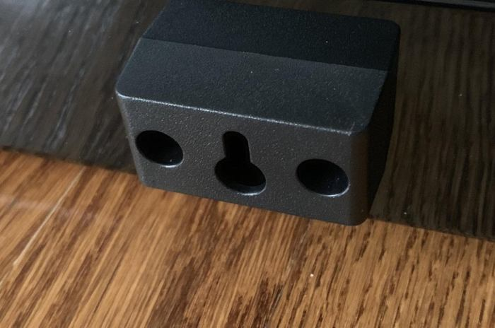 Wall mounting uses the keyhole mount on the rear.