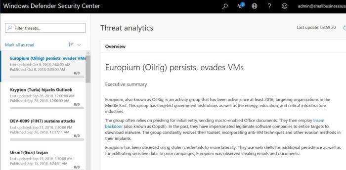 windows 1809 threat analytics dashboard